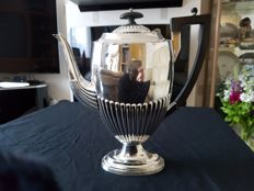 Silver plated coffee pot engraved with the flag of the White Star Line shipping company.