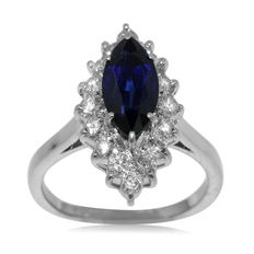 18kt Handmade White Gold Marquise-Shaped Diamond And Sapphire 'Entourage' Ring, As New!
