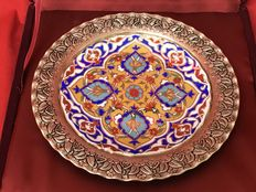 Gural porcelain - Porcelain plate and metal edge with repoussé work