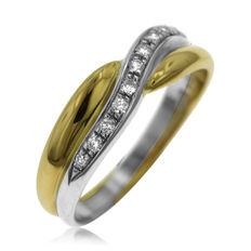 18K. Bi-color gold and 0.25ct diamond 'Twist' Ring, as new.