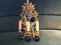 Bronze or brass wall light, neo-baroque style