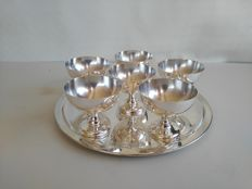Fine set of 6 silver plated Dessert Cups - approx. 1910 - With serving tray