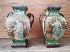 Set of two antique tins, with lithographs - the Netherlands - first half of 20th century