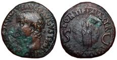 Roman Empire - Tiberius (14-37 AD) - AE As (26mm; 11,61g.) - Rome mint, struck 35-36 AD - Head / Rudder and Globe - RIC I, 58 - R2