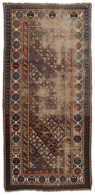 (Dimensions: 215 x 100 cm) Very antique genuine rug – Original and hand-knotted – Certificate of Authenticity from official expert included – (Galleriafarah1970)