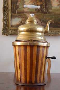 Complete tea warmer A bucket-shaped wooden tub with a copper inner bucket; chafing dish and copper (water) boiler