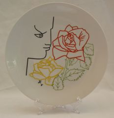 Jean Cocteau - Painted porcelain plate Editions d'Art