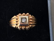 18 kt white and yellow gold ring with zircon – internal size: 16.7 mm *** No reserve price ***