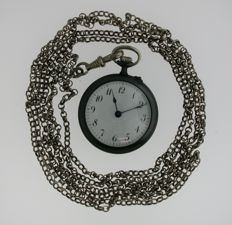 Victorian Ladies Gunmetal NOS Pocket Watch with Silver Bow and Silver Long Chain Swiss 1900