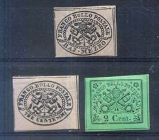 Italia/Papal State. 1852-67 3 Keys of Rome, #1A, Baj. Mezzo, #13 & 15, 2 and 3 cts