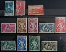 Monaco 1939-1941 - Lot of semi-modern stamps including Yvert 194 and ND series 371-375.