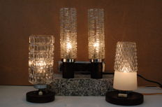 Vintage Twin Wall lamp and Two Table/Bedside lamps in crystal shape.