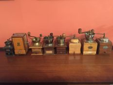 Collection of 8 old coffee grinders