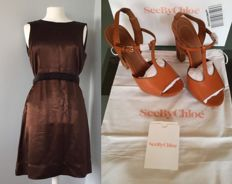 Chloe set- Satin Cocktail Dress and Leather Sandals