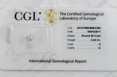 0.63 ct brilliant cut diamond  G  I2  ** Low Reserve **