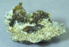Green Epidote Crystals Cluster with Calcite  - 78 x 43 x 32mm - 86 gm