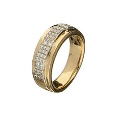 14 kt yellow gold ring, set with 6 princess cut and 42 brilliant cut diamonds, 0.72 ct in total – ring size 16.5