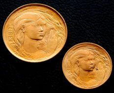San Marino - 1 and 2 Escudos 1978 - Liberty - 2 coins in original box with certificate - Gold