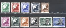 German Empire, 1934 – Nothilfe, arts and crafts; Zeppelin Airmail –Michel Catalog No. 520/39 + 556/564