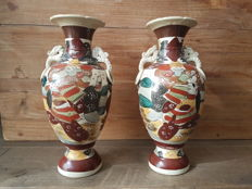 Set of two antique Satsuma vases - Japan - first half/mid 20th century