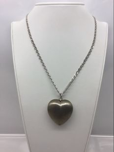 925 silver necklace with satinised curved heart - Length: 49.5 cm