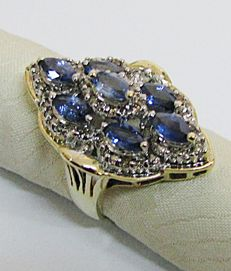 Ring with marquise cut sapphires - rosette cut diamonds