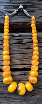 Necklace with old  amber beads and antique silver clasp - 90 mm, 10 gr.. Beads: large size & barrel shape, 92 grams