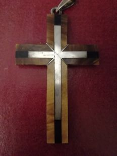 925 silver cross with tiger's eye and onyx - 62 x 40 mm
