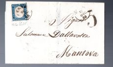 Sardinia, 1855-1862, 9 letters with fourth edition of Sardinia, 20 cent variety with different colours