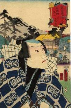 Original print by Utagawa Kunisada (1786–1864) – The actor Ichikawa Danjuro VIII in the role of the carpenter Yojiro – Japan – 1853