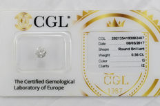 0.56 ct brilliant cut diamond  G  I2  ** Low Reserve **