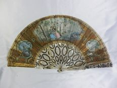 A mother-of-pearl silver/gold inlaid and hand painted organza hand fan, Spain, circa 1900