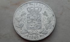 Belgium – 5 francs 1866 (with dot) – Leopold II – Silver