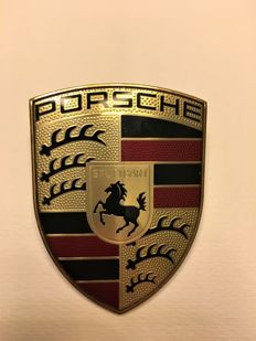 Emblem. Logo. PORSCHE stamp of 2005/6. Engine cover with Porsche 911. Original 991559215 C