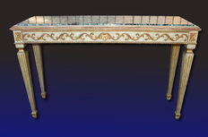 Lacquered, gilded and finely carved console table - Naples, Italy - 20th century