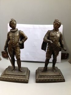 2 bronze finish spelter statues signed LSF  - France -  around 1880-1900