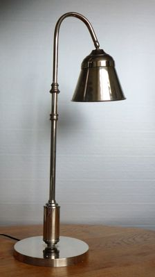 Designer unknown - large, stainless steel desk lamp.