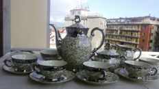 Elegant Bavaria porcelain coffee set for 6 finely decorated with appliqué in silver - early 1900s