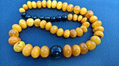 "Antique Amber beads: 100% natural Amber and Jet ""Black amber, tears of the dragon"" 35 grams"