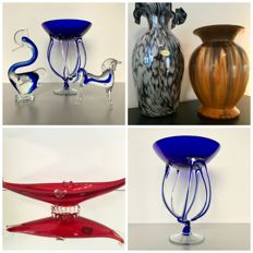 "Lot of 4 Murano ""art glass"" objects and 2 Toscanvetro Firenze vases"