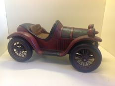 Large vintage wooden toy racing car
