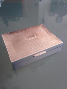 Vintage silver box ( inside is wood ) with several markings