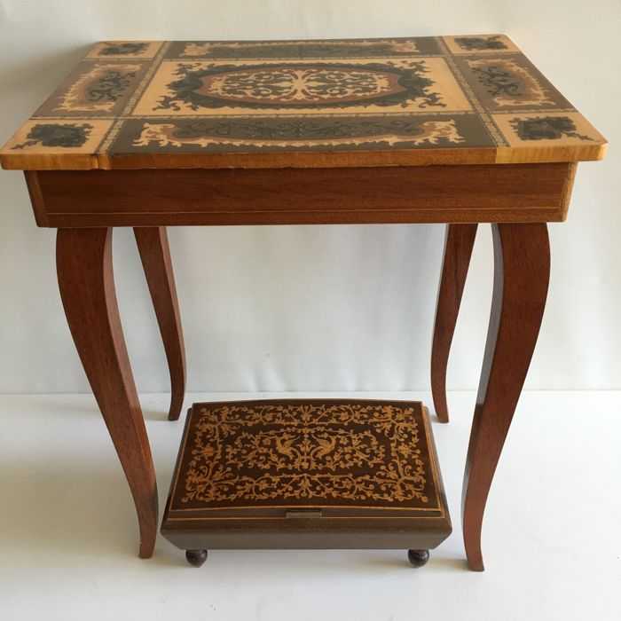 Vintage Italian Music Table And Music Box With Mirror