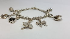 Silver 925 women's bracelet set with various charms