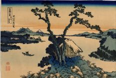 Etching by Katsushika Hokusai (1760-1849) - 'Lake Suwa' - 36 views from Mount Fuji (recarved) - Japan - ca. 1900