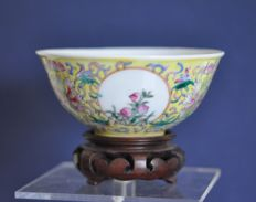A Chinese porcelain bowl with scenery of landscapes and plants - China - second half 20th century