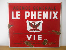 Enamel advertising sign for 'Agence Générale Le Phenix' from 1938