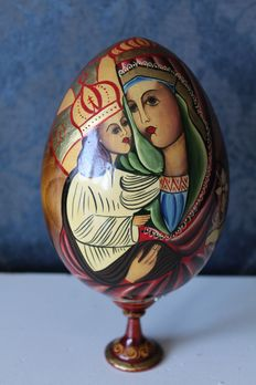 Russian icon on wooden egg ' the mother of God ' - 20th century