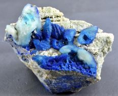 Rare Translucent & Fluorescent Neon Blue Afghanite Specimen with Pyrite  - 87 x 75 x 55mm -404 gm