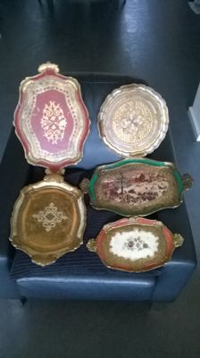 Five Venetian serving trays